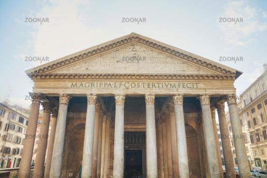 antheon facade close up at the Piazza della Rotonda in Rome