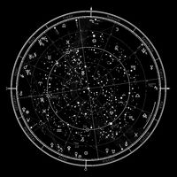 Astrological Celestial map of Northern Hemisphere. Horoscope for January 1, 2021 (00:00 GMT).