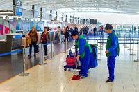 Cleaning women, airport, Larnaca