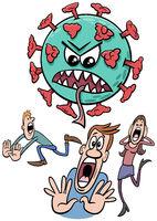 coronavirus and people run away in panic cartoon illustration