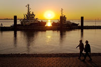 Ships at the tug pier at sunset, Weser, Bremerhaven, state of Bremen, Germany, Europe