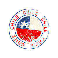 Chile sign, vintage grunge imprint with flag on white