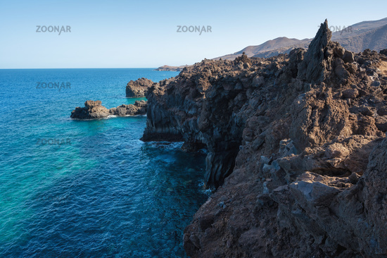 Volcanic coastline landscape. Rocks and lava formations in El Hierro, Canary islands, Spain.