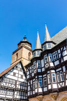 The medieval town hall and the Evangelical church in Alsfeld in the Vogelsberg district, Hesse