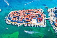 Adriatic Town of Tribunj on small island aerial view