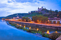 Wurzburg. Old Main Bridge over the Main river and scenic riverfrontof Wurzburg dawn view