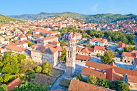 Blato on Korcula island historic town stone square and church aerial view