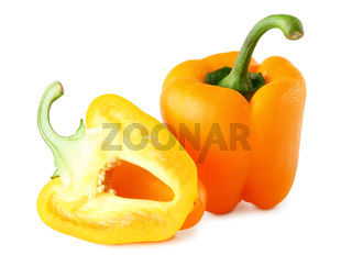 Fresh paprika (Capsicum) with water drops isolated on white background, including clipping path without shade. Germany