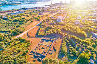 Ancient Salona or Solin ruins aerial sunset view