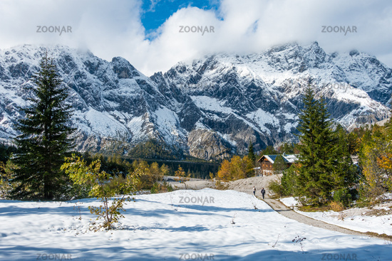 Hiking trail above the Wimsbachgrieshuette with view of the Hochkalter massif, NP Berchtesgarden