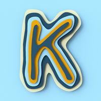 Colorful paper layers font Letter K 3D