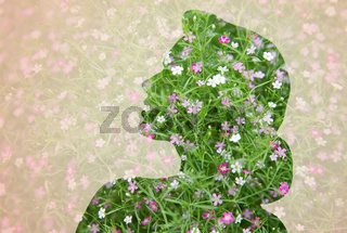 woman silhouette with green floral pattern