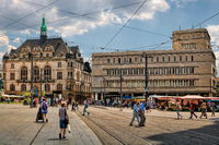 Halle Saale, Germany - 17.06.2019 - market square with old town house