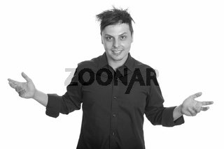Studio shot of crazy Caucasian businessman with both arms raised