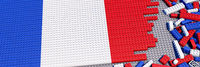 Building blocks assembled as a flag of France