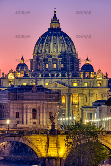 The St. Peters Basilica in the Vatican City, Italy, at sunset