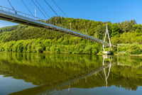 Bridge and  Riverbank Reflecting in the Neckar River