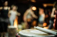 Vintage drum in atmospheric music bar