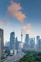 city view of shanghai at dusk