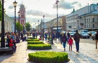 People, cars, street, Petersburg cityscape