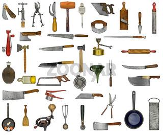 vintage kitchen utensils collage