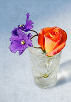Rose and violet flowers in crystal glass on grange
