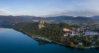 Aerial view of the Bled lake and castle