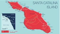 Vector detailed map of Santa Catalina Island, California, USA