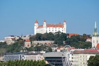 Bratislava skyline with castle St Martins  cathedral and wheel