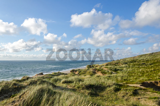 Beautiful dune landscape and beach in the evening light on the island of Sylt in Northern Germany