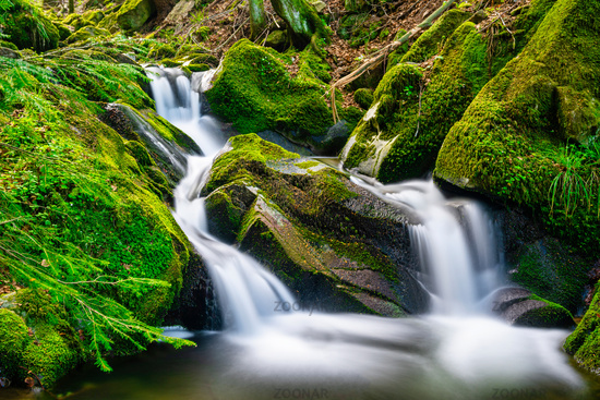 Long time exposure of a small waterfall with cascades in the heart of the Black Forest with beautiful color mood in spring