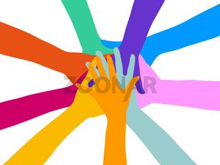 Viele gestapelte Hände als Zusammenarbeit Konzept