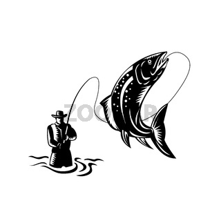Fly Fisherman Catching Spotted Trout Fish Jumping Woodcut Retro Black and White