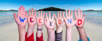 Children Hands Building Word Weekend, Ocean Background