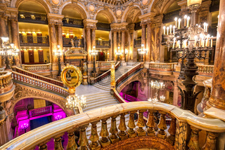 The Grand Staircase at the entry to the Palais Garnier located in Paris, France