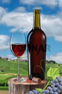 Glass of red wine and bottle on stump isolated on white