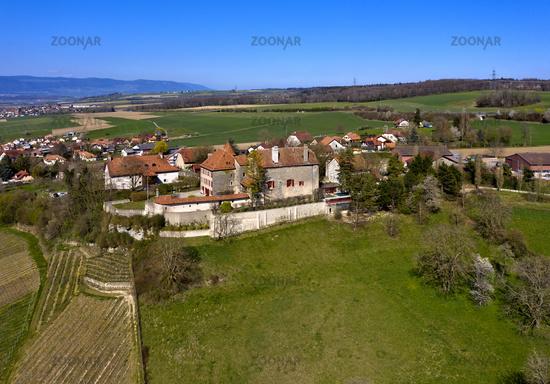 The municipality of Bavois with castle, Bavois, Vaud, Switzerland