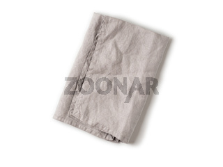 Gray linen napkin isolated on white