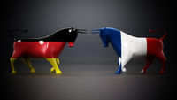 Bulls with Germany and France flags facing each other on dark background. 3D illustration