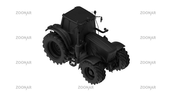 3D rendering of a tractor computer model machinery agriculture tool isolated on white background high quality high resolution