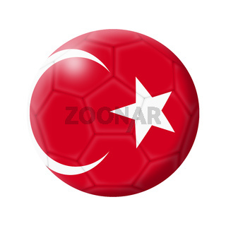 Turkey soccer ball football 3d illustration isolated on white with clipping path