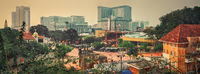 View of Malacca City, Malaysia, skyline panorama.