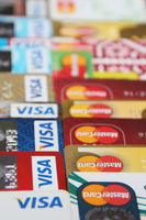 Plastic bank cards of VISA and Mastercard. International payment systems