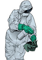 Man in Protective Suit and Protective Mask