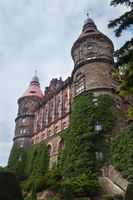 Facade with towers of castle Ksiaz in Walbrzych Poland