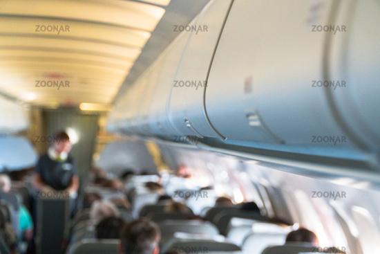 close-up aircraft cabin