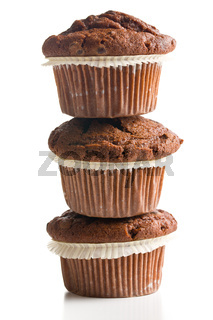 pile of chocolate muffins
