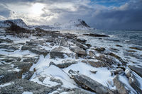 Lofoten Norway Haukland Beach winter season