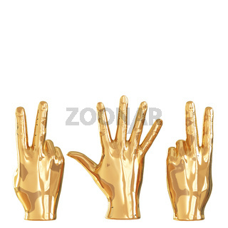 Three golden figures of hands showing different gestures on a white background. Back view. Copyspace. 3d rendering