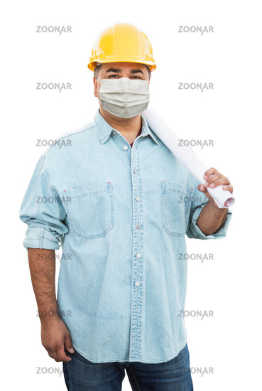 Male Contractor In Hard Hat Wearing Medical Face Mask During Coronavirus Pandemic Isolated on White